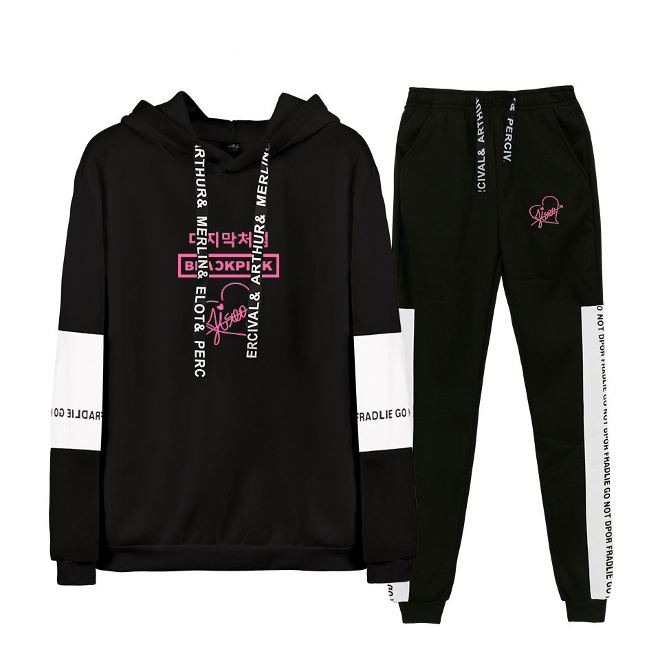 2019 Hot Sales-South Korea Popularity WOMEN'S Team Blackpink Fashion Casual Hooded Sweater + Athletic Pants Set