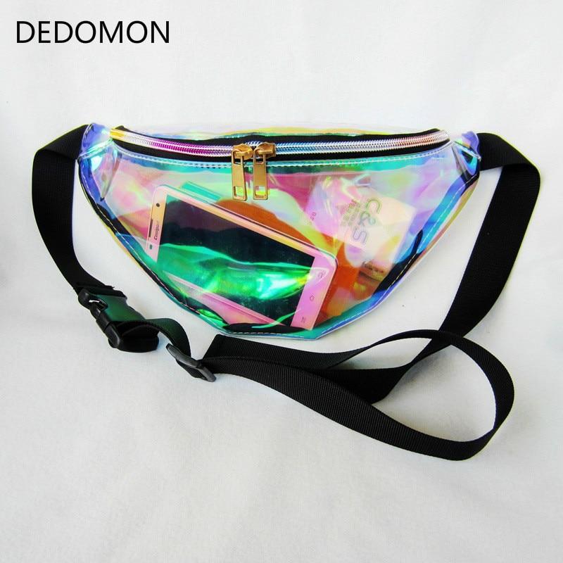 Rainbow Transparent Bag Punk FANNY PACK Punk Bum Bag Chic Hologram Purse Fashion Waist Pack