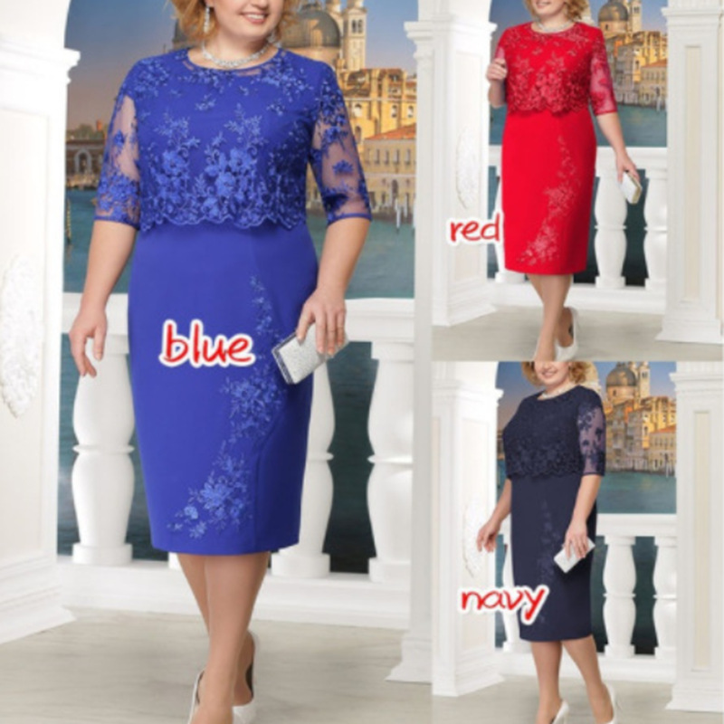 Lace Plus Size Mother Of The Bride Dresses 2019 Scoop Neck Hal Sleeve Patchwork Wedding Guest Party Gown Mutter Der Brautkleider