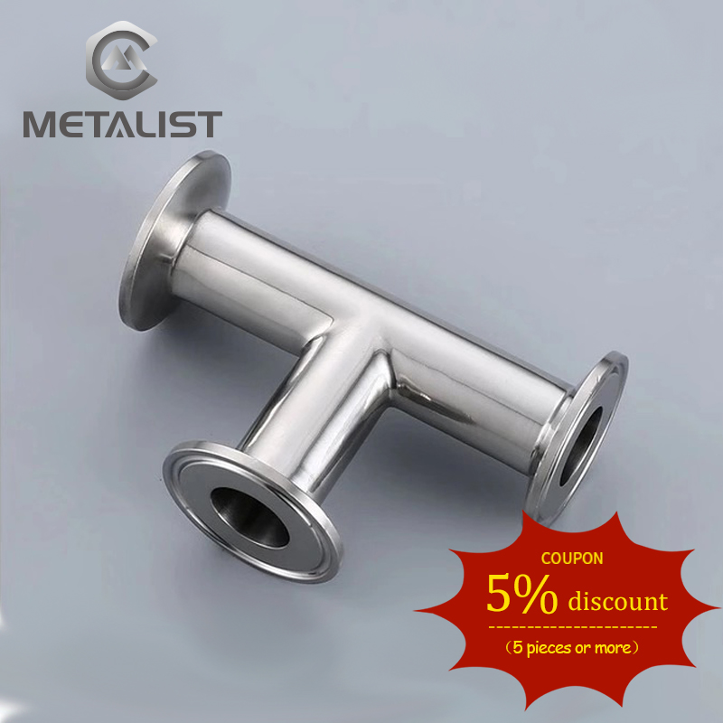 METALIST OD 19mm.25mm.32mm.38mm Stainless Steel SS304 Sanitary 3 Way Tee Ferrule OD 50.5MM Fit 1.5
