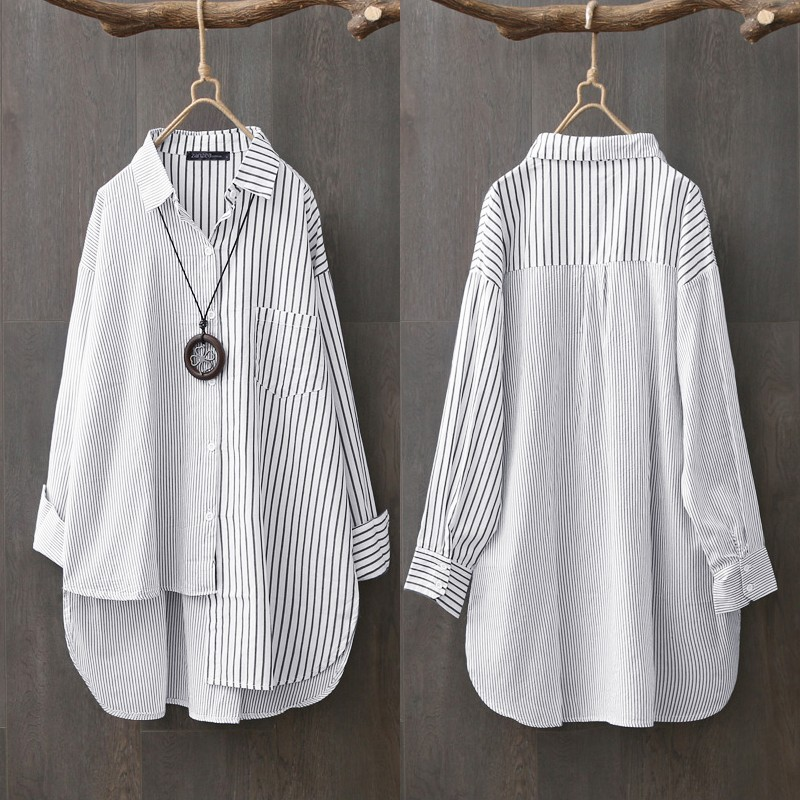 Oversized Women's Asymmetrical Shirts ZANZEA 2020 Elegant Striped Tops Casual Long Sleeve Blusas Female Button Stiching Tunic