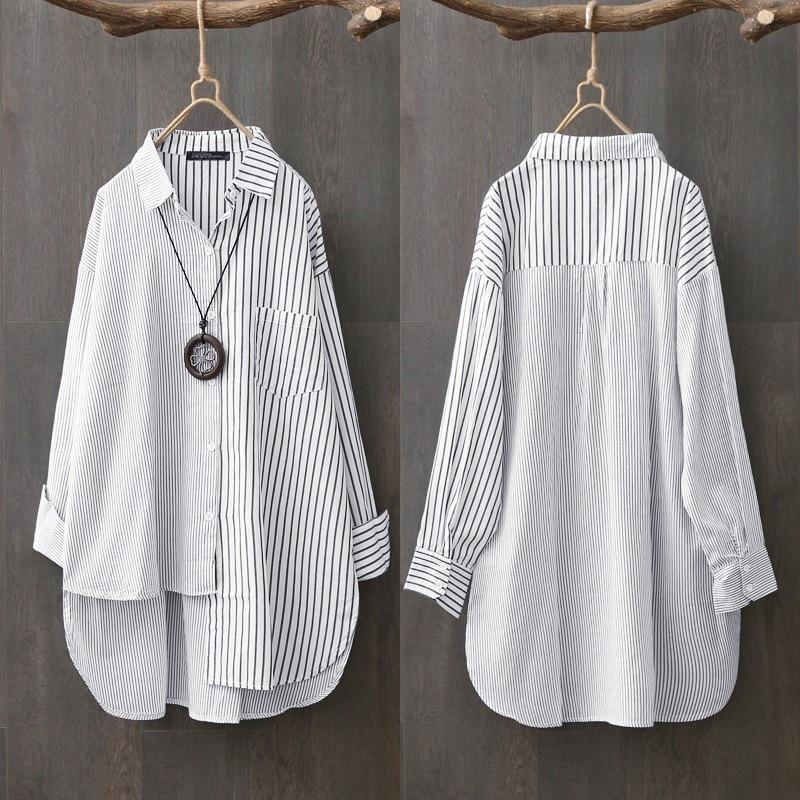Oversized Women's Asymmetrical Shirts ZANZEA 2021 Elegant Striped Tops Casual Long Sleeve Blusas Female Button Stiching Tunic