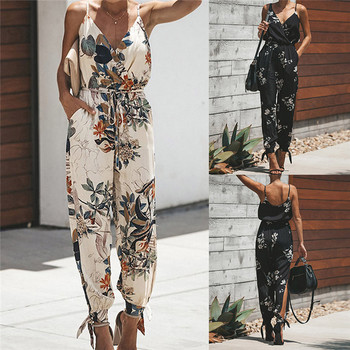Women Floral Jumpsuits Casual V-Neck Spaghetti Strap Print Bodysuit Sexy Bohemia Drawstring Female Rompers Plus Size red plunge v neck bodysuit with drawstring