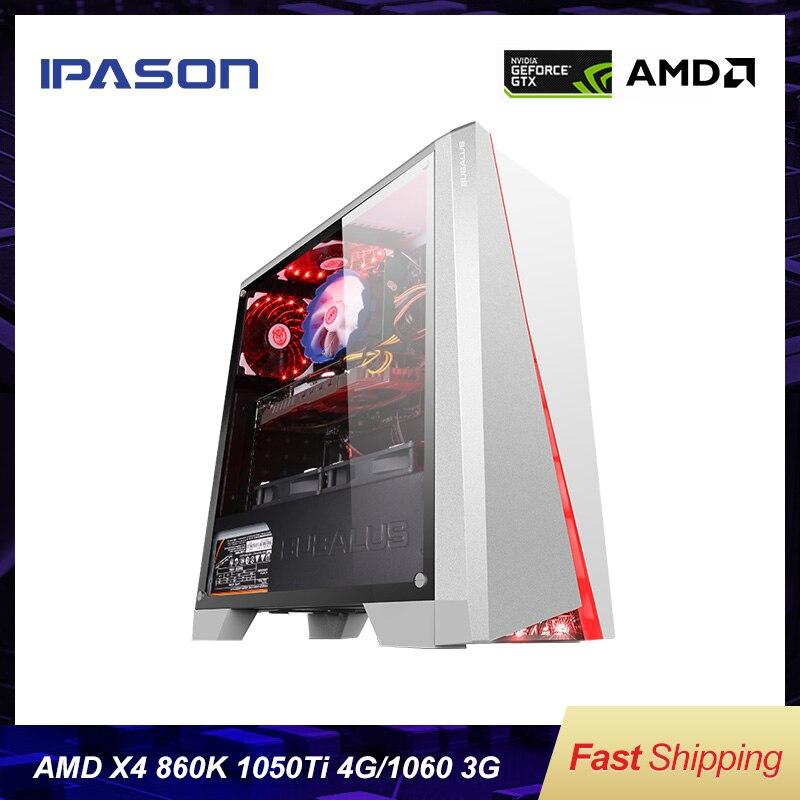 IPASON Office Desktop Computer Gaming Card 1050TI Upgrade GTX 1060 3G/RX560 4G AMD X4 860K RAM D3/D4 8G 120G SSD Cheap Gaming PC