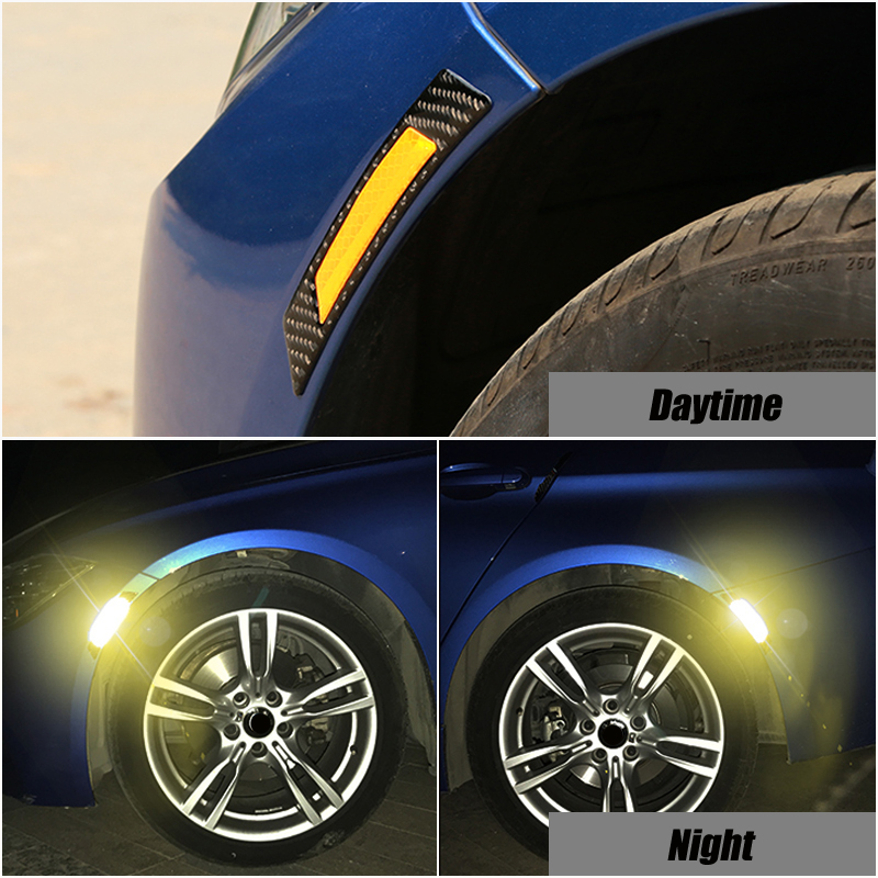 2x Car Wheel <font><b>Eyebrows</b></font> Reflective Stickers Warning Reflector Tape Exterior Accessories For <font><b>BMW</b></font> <font><b>E90</b></font> E60 Audi A4 B6 B8 image