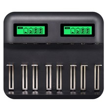 8 Slots Lcd Display Usb Smart Battery Charger For Aa Aaa Sc C D Size Rechargeable Battery 1.2V Ni-Mh Ni-Cd Quick Charger(China)