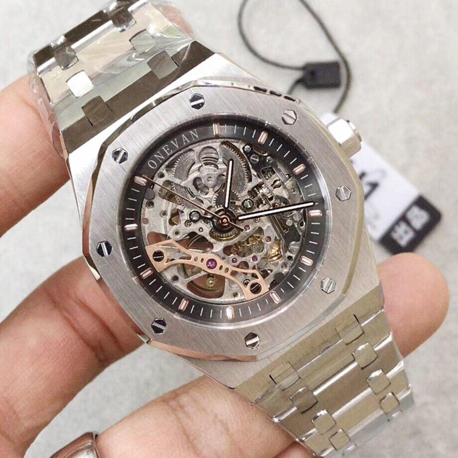 Hot AAA Ap limité Royal Double balancier ouvert chêne travaillé montres en acier inoxydable cadran noir 15407 montre 41mm hommes montre-bracelet