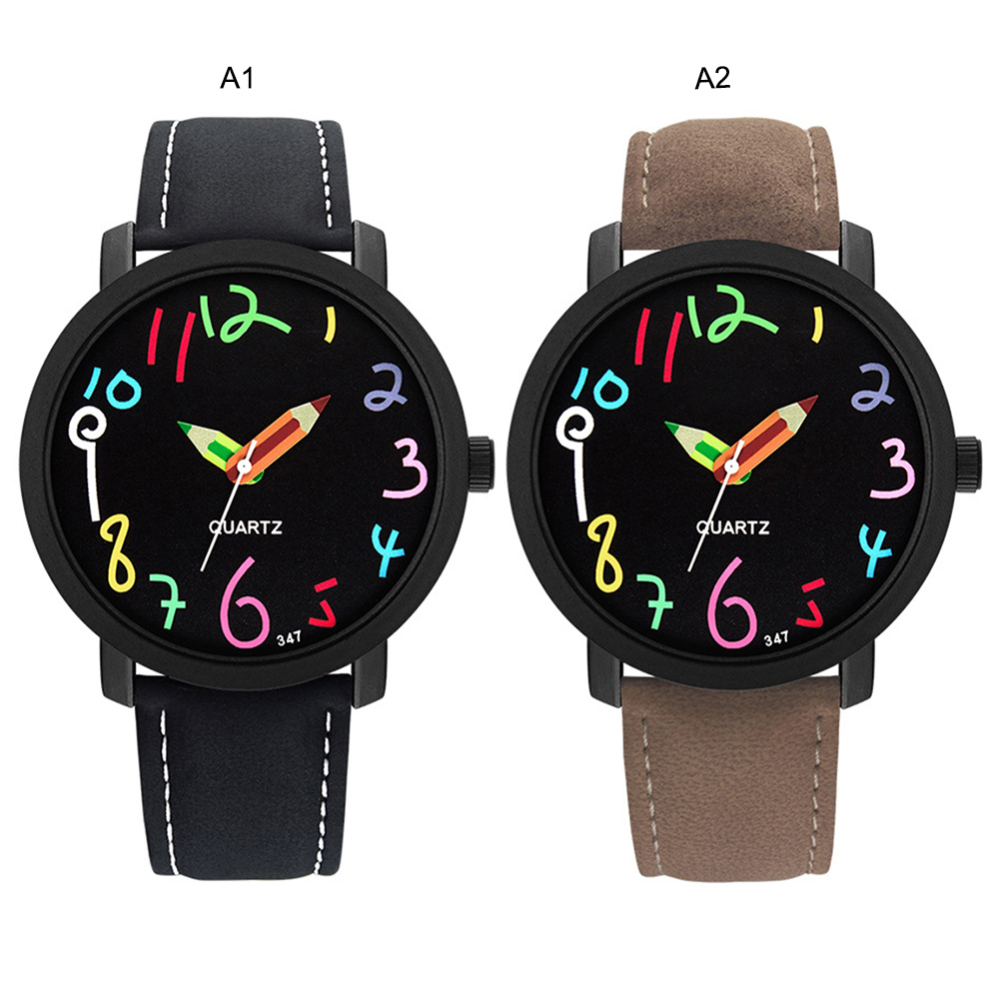 Student Couple Cartoon Doodle Children Watch Woman Fashion Colorful Graffiti Quartz Watches Students Wristwatch Leather Strap