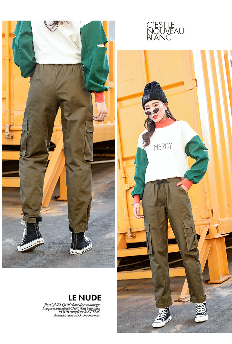 2019 spring and autumn new women's straight jumpsuit casual harem pants Harajuku style Korean version of the elastic waist wide 49