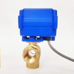 """Image 3 - 1/2 """"elektro Ventil 3 weg T port, DC12V Motorisierte ventil 3 drähte (CR02), DN15 Mini elektrische ventil für flüssigkeit richtung regulierung"""