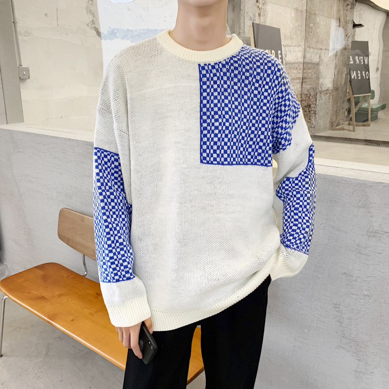 Winter Thick Sweater Men's Warm Fashion Contrast Color Casual O-neck Sweater Pullover Men Knitting Sweaters Male Sweter Clothes