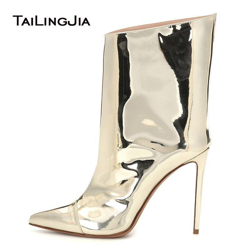 Bottines dorées pour femmes chaussures femme 2019 bout pointu chaussons à talons hauts mode dames botte courte femmes automne chaussures