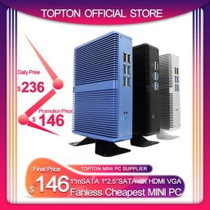 Topton Fanless Mini PC Intel i5 7200U i3 7100U DDR4 DDR3 Nuc Computer Linux Windows 10 Pro 1*mSATA 1*2.5'