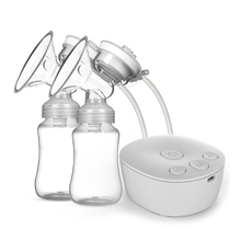 1Set Electric Double Breast Pump Kit with 2 Milk Bottles USB Powerful Breast Massager Milk Extractor