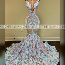 Long Sexy Prom Dresses 2020 Mermaid Sheer O-neck Black Girl African Sequin Gala