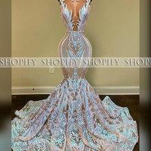 Long Sexy Prom Dresses 2020 Mermaid Sheer O-neck Black Girl