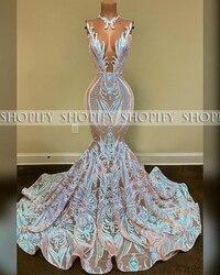 Longue Sexy robes de bal 2020 sirène pure o-cou noir fille africaine Sequin Gala robe de soirée de bal
