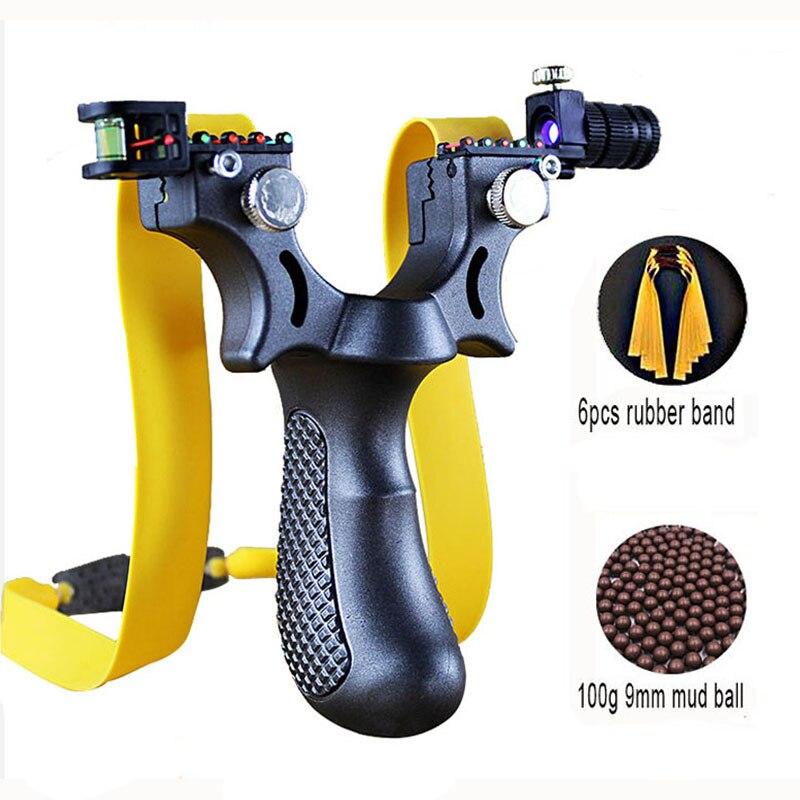 New Resin Slingshot Laser Aiming Slingshot With Flat Rubber Band Outdoor Hunting Shooting Slingshot Set