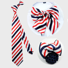 Korean fashion red, white and blue bow tie tie tie 8cm tie tie men's bank hotel uniform matching fake collar  bow tie royal blue plunging neckline bow tie waist blouse