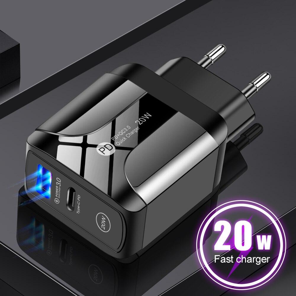 20w 5v 3a carregador rápido adaptador 5v usb qc 3.0 tipo-c carregador rápido para iphone samsung tablet viagem parede de carregamento ue eua uk plug