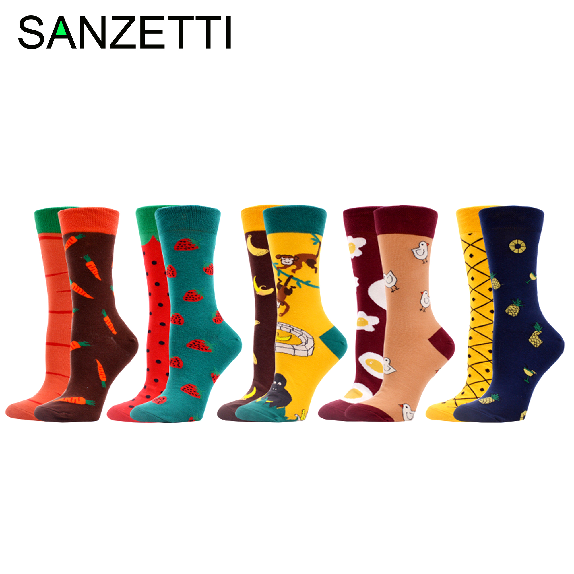 SANZETTI 5 Pairs Women's Crew Socks Happy Creative Shuangpin Design Colorful Harajuku Bright Pattern Novelty Wedding Dress Socks
