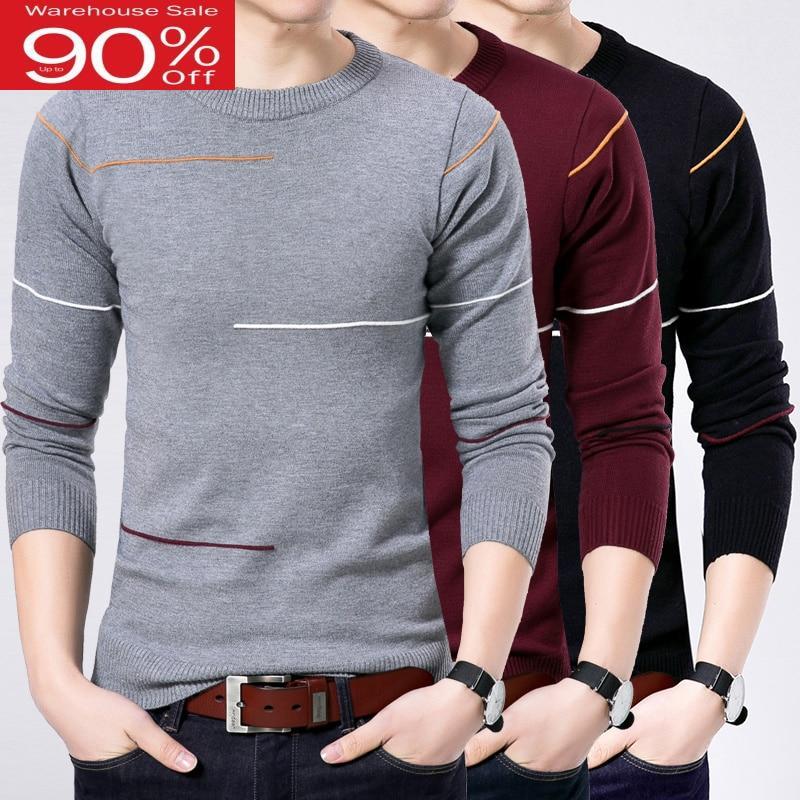 Men Thin 2020 Autumn Korean Style Sweater Winter Male O-neck Long-sleeve Slim Plus Size Knitted Basic Shirt Teenage Boy