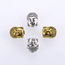 10PCS/ packsge Wholesale NEW Antique Silver Gold-Color Buddha Head Charm yoga Beads Fit DIY Making jewelry accessories