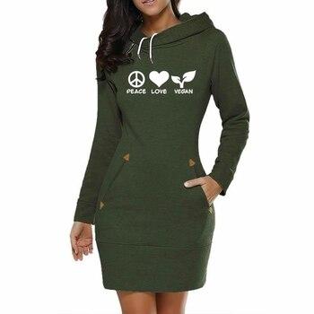 For Women Long Dress Peace Love Vegan Letters Print Hoodies Women Sweatshirt Femmes Sweatshirts Youth Hoody Girls цена 2017