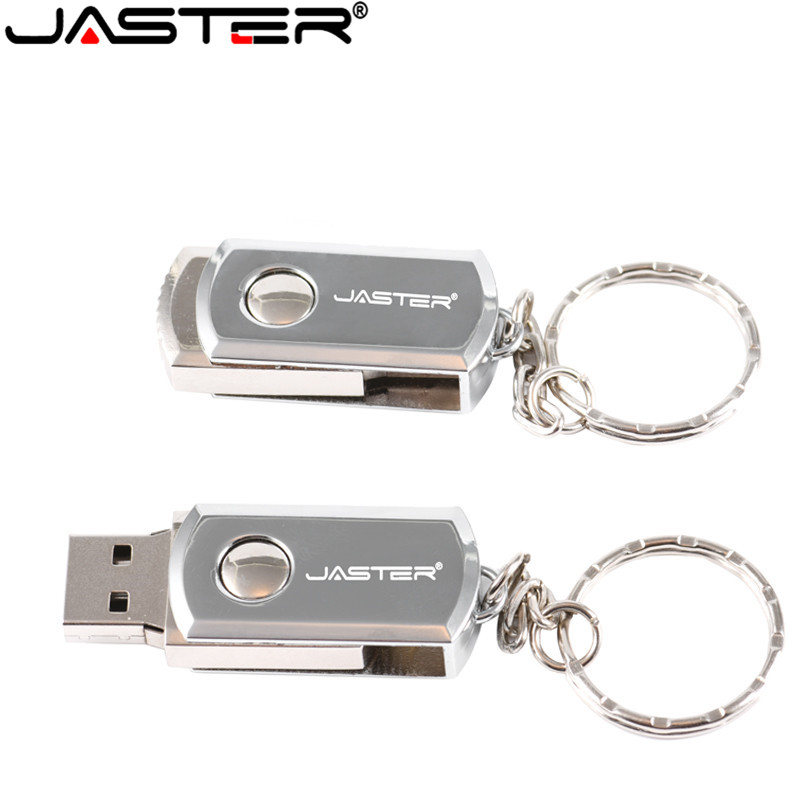 JASTER Metal Keychain USB Flash Drive Swivel Pen Drive Pendrive 4GB 8GB 16GB 32GB 64GB U Disk Memory Stick