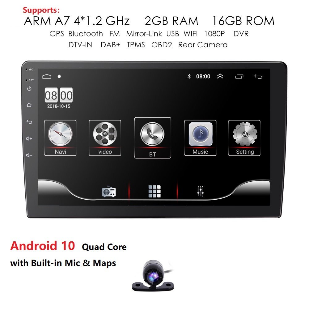 Podofo Double Din Android Car Navigation Stereo with Bluetooth for Toyota 7 LCD Touchscreen Car MP3 Player Auto-Radio WiFi GPS Head-Unit BT Audio with Backup Camera