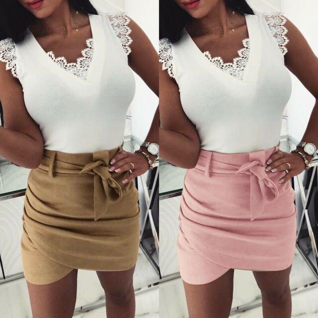 2019 Autumn Fashion Womens Mini Skirts Sexy Bandage Clubwear High Waist Pencil Bodycon Cross Skirt White Pink Khaki S-XL 4