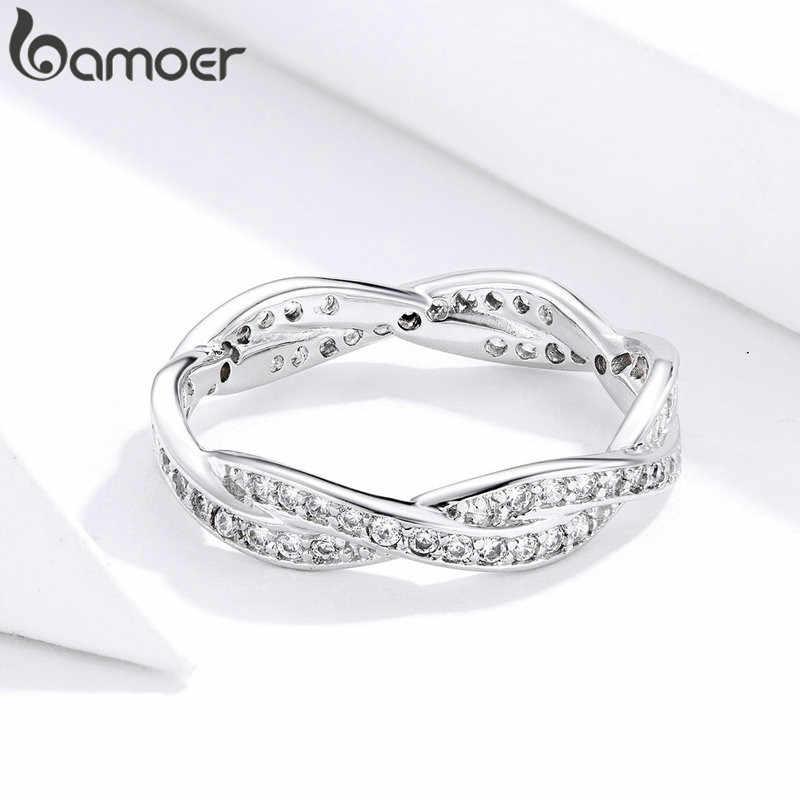 Bamoer 3 estilo trançado pave deixa minha princesa rainha coroa prata cor anel torção do destino empilhável anel pa7222