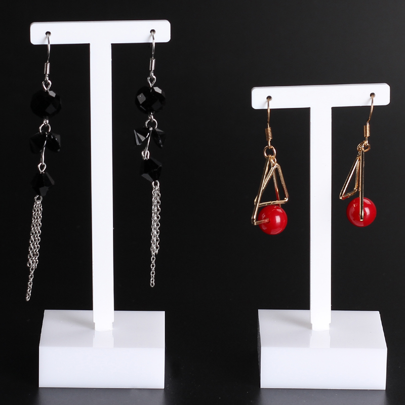 High Quality 2pcs/set White Acrylic Earrings Holder Earrings Showcase Jewelry Display Stand Earring Showing Rack Shelf