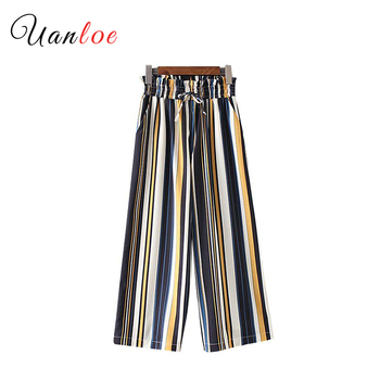 2019 Women Elegant Striped Wide Leg Pants Sweet Bow Tie Elastic Waist Pockets Female Casual Chic Loose Trousers цена 2017