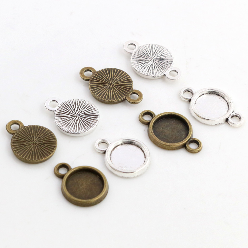 50pcs 8mm Inner Size Antique Bronze And Silver Plated 4 Simple Style Cabochon Base Cameo Setting Charms Pendant