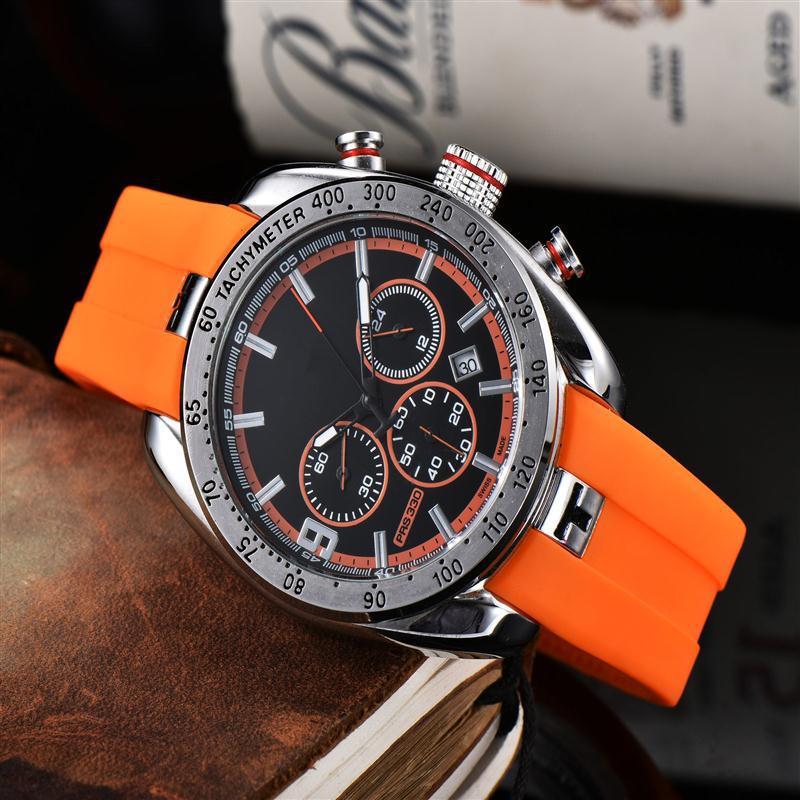2021 Fashion Men Sport Watch Quartz Watch Men Silicone Wristband Luxury Stainless Steel Watches Calendar Wrist Watch