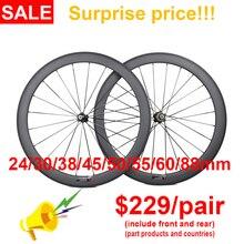 קל במיוחד 700C אופניים פחמן גלגלי 24/30/35/38/45/50/55/60/75/88mm נימוק מכריע עמוק צינורי פחמן גלגלי אופני כביש גלגלים