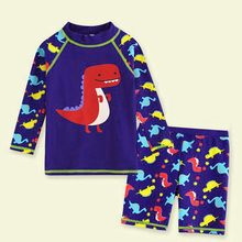 3D Dinosaur Cartoon Kid Baby Boy Swimwear With Long Sleeve Beach Bathing Set Clothes Holiday Swimming Swimsuit купальник(China)