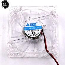 Ventilateur de refroidissement pour ordinateur PC, ventilateur CPU, 80mm, silencieux, châssis lumineux Led, prise 4D Molex, ventilateur Axial, 80x80x25mm, lumière bleue LED, 8cm, 12V