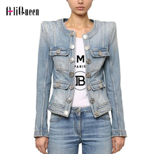 2020 Spring Streetwear Short Denim Jackets Women Double Breasted O Neck
