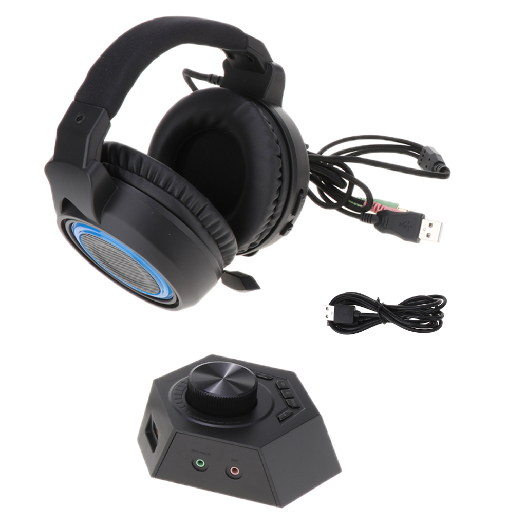 Professional Gaming Headset Over-ear Gaming Headphone Stereo Bass Headset Headband Earphone w/ Volume Control and Mic LED Light