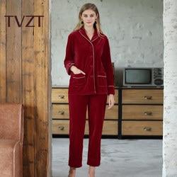 Gold Velvet Pajamas Sets for Women Winter Long Sleeve and Full Trousers Two Piece Soft Comfortable Pyjama Sleepwear Homewear