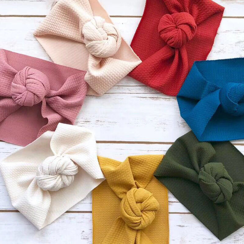 Knot Baby Headband Girl Pleated Headbands Infant Wide Headwrap Solid Turban Newborn Bubble Cloth Handmade Hair Accessories