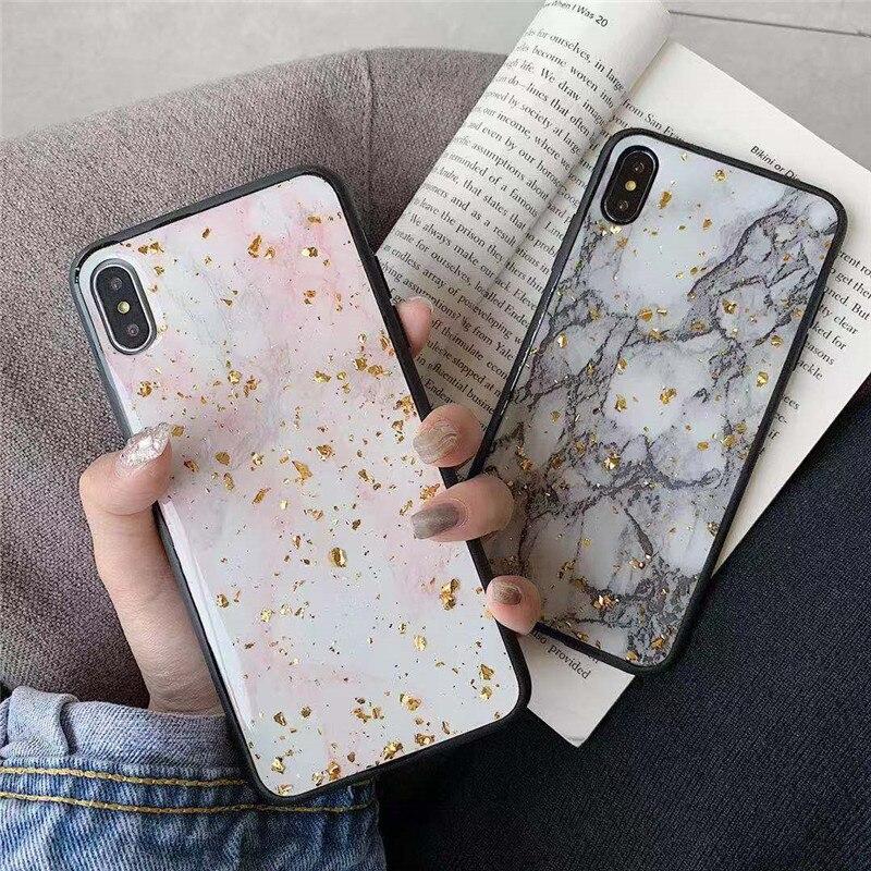 Bling Gold Sequin marble phone case Cover For Xiaomi redmi note 8 Pro redmi note 7 pro 6 6A Mi cc9e MI 9 mi 8 lite A3 8A coque