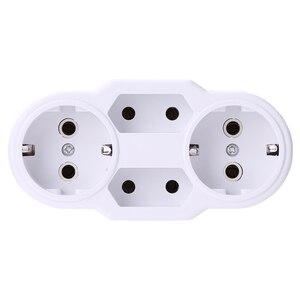 Image 3 - Europese Conversie Plug 1 Naar 2 1to 3 1 T 4 Way Socket Adapter Eu Standaard Power Adapter Socket 16A reizen Pluggen Ac 110 ~ 250V