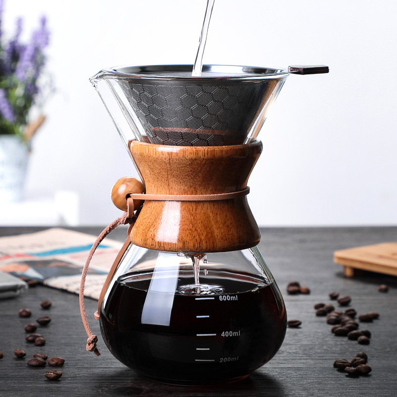 OHFIN 600ml Classic Coffee Pot Wooden Handle Heat Resistant Glass Coffee Pots Manual Coffeemaker V60 Hand Dripper With Filter