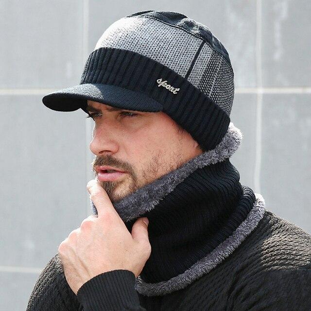 Winter Hats For Men Women Skullies Beanie Hat Winter Cap Men Women Wool Scarf Hat Set Knitted Balaclava Mask Gorras Bonnet 2020 1