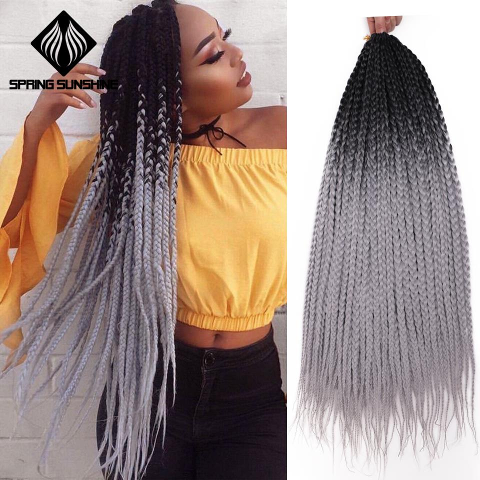 24Inch Ombre Grey Box Braid Crotchet Braid Synthetic Braiding Hair Extension 22Roots Rainbow Crochet Hair African Braids