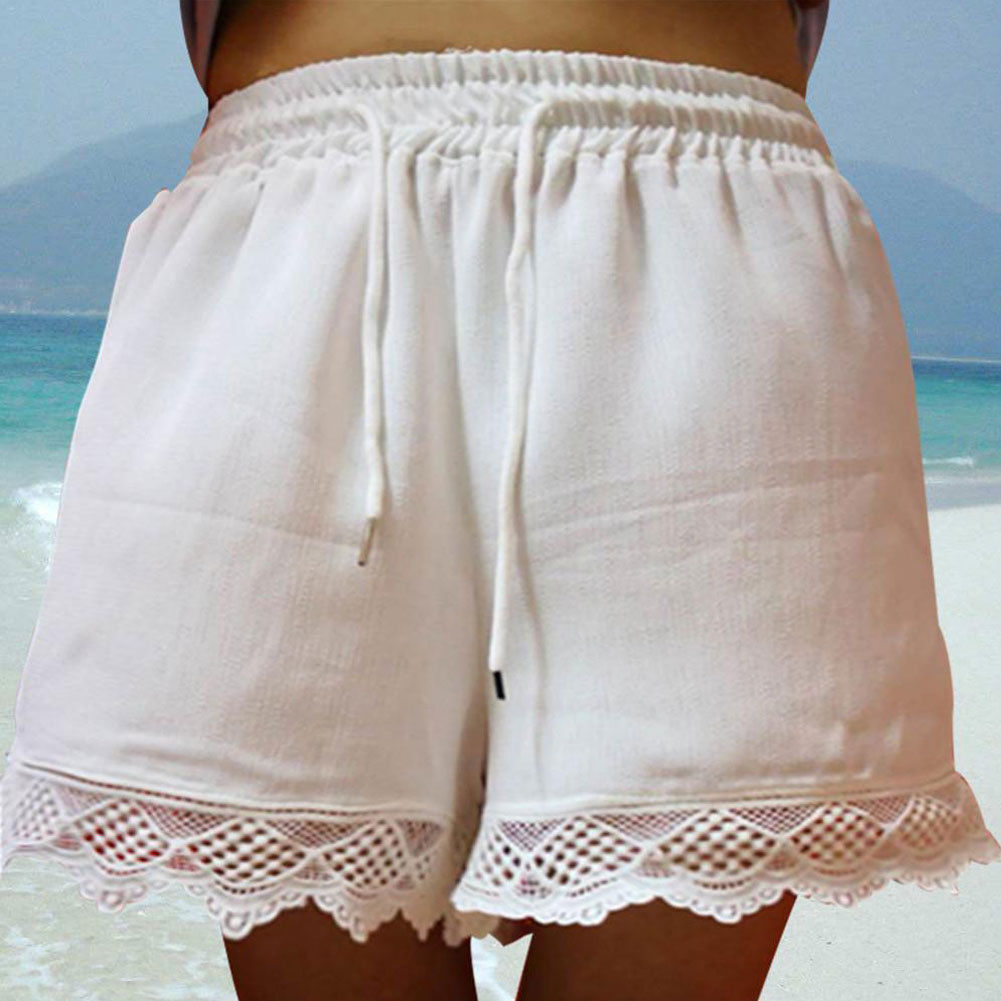 2019 New Elegant Summer Beach Women Casual <font><b>Shorts</b></font> Elastic High Waist <font><b>Lace</b></font> <font><b>Plus</b></font> <font><b>Size</b></font> Loose Soft Hot <font><b>Shorts</b></font> Ladies Fashion <font><b>Shorts</b></font> image