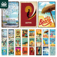 Beach Tin Sign Plaque Metal Summer Sign Metal Plate Wall Decor for Beach Bar Beach House Surf Club Decorative Iron Painting|Plaques & Signs| |  -